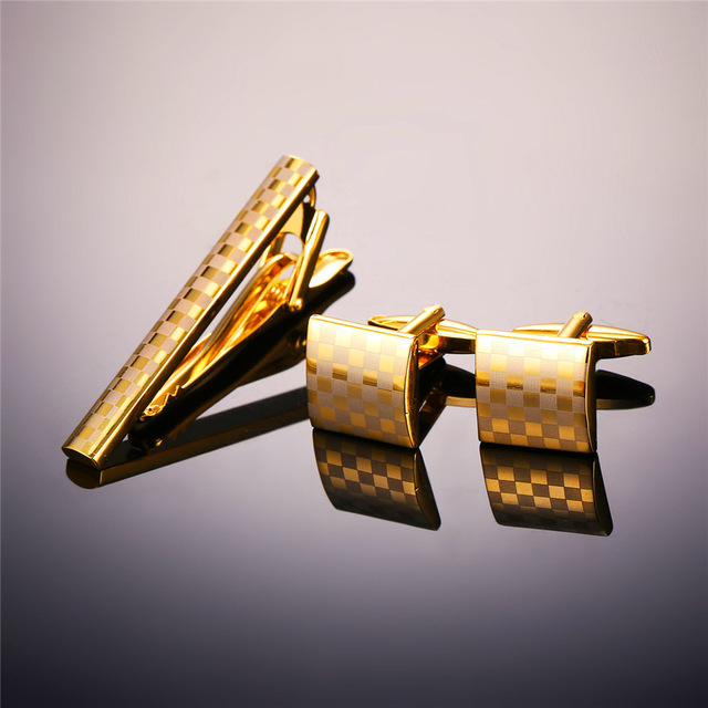 Golden Silver Colour Tie clip & cufflink With Gift Box