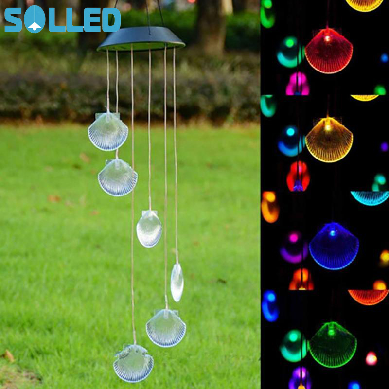 SOLLED Creative Wind Chime LED Solar Light Outdoor Color Changing Hanging Pendant Lamp Decoration for Garden Courtyard Porch solar color changing led hanging wind spinner lamp for courtyard