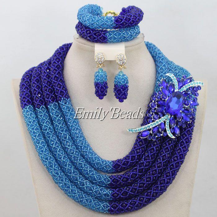 2015 Luxury Royal Blue Crystal Necklaces Bracelet Earrings Set African Nigerian Wedding Beads Jewelry Set Free Shipping AIJ328