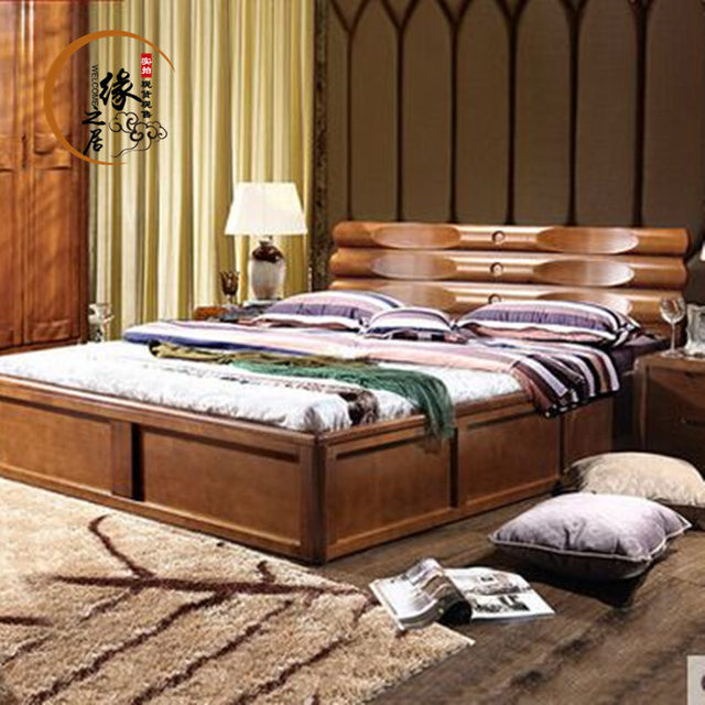 New Chinese Ash solid wood bed . meters high Chinese wooden box