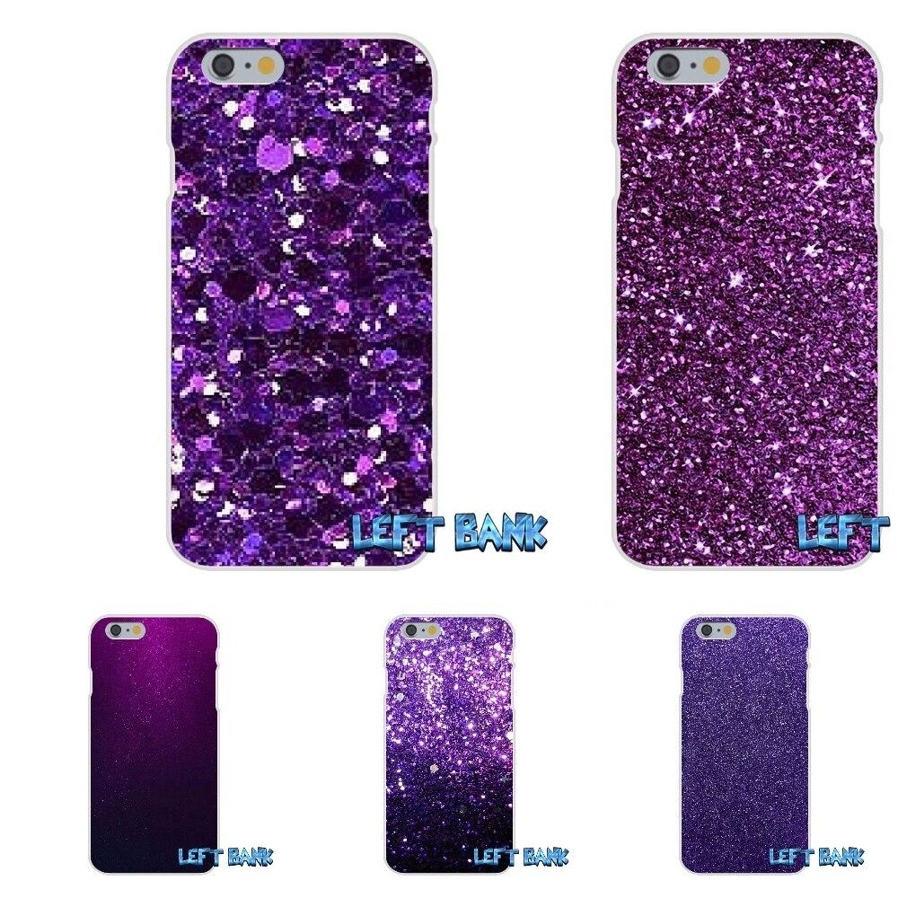Purple sparkle Glitter Soft Silicone TPU Transparent Cover Case For iPhone 4 4S 5 5S 5C SE 6 6S 7 Plus