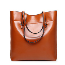 2017 Brand Oil Wax bags Shoulder bag Handbag PU Leather Handbags Bucket Large Capacity Ladies Bolsa Tote Bolsa Feminina