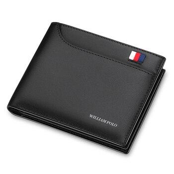 079353dc3212 WilliamPOLO бизнес Для мужчин бумажник из натуральной кожи кошелек двойного  сложения Банк Кредит Card Case ID Держатели мужской кошелек для монет