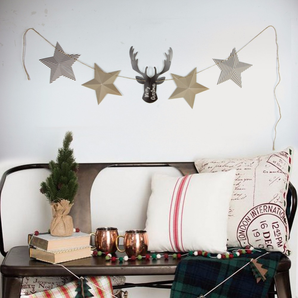 Little Deer Banner Decoration For Merry Christmas Garland Bunting Party Tree Hang Decor
