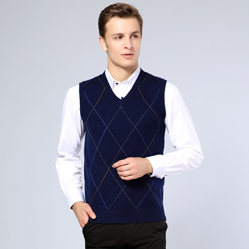 2016 Mens Autumn Argyle Sleeveless Wool Swetaer V-Neck Casual Males Sweater Pullover Cashmere Sweater Vest For Man