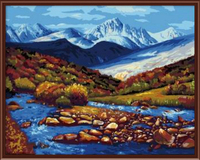 Frameless Wall Art Pictures Painting By Numbers Of Mountain River Landscape DIY Canvas Oil Painting Home