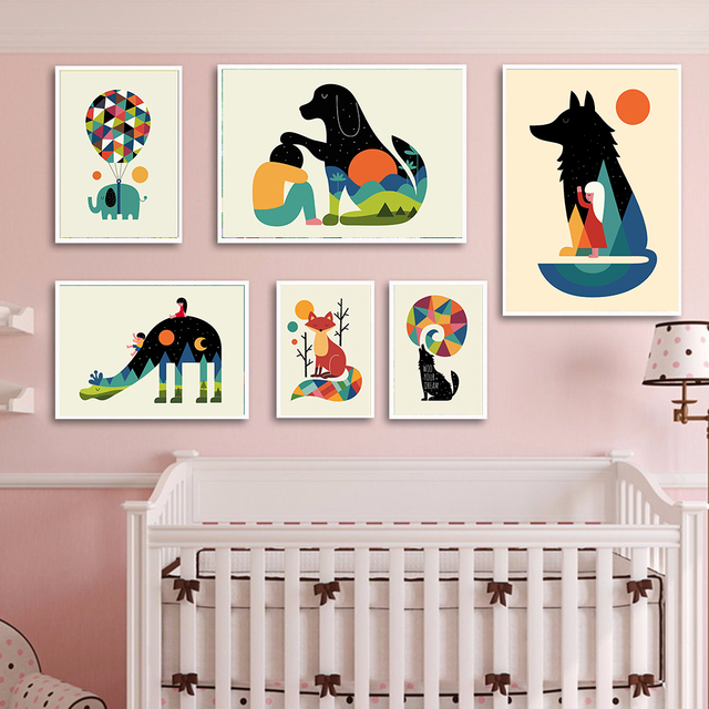 Children Posters Tiger Fox Elephant Animal Wall Art Canvas Prints Painting Nordic Nursery Pictures Kids