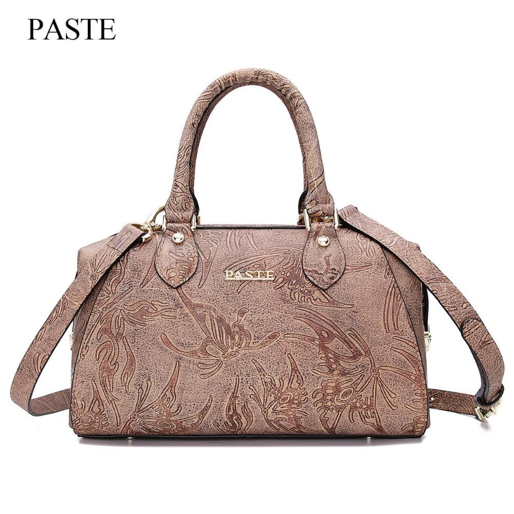 Guarantee 100% Genuine Leather Shoulder Bag Embossing Handbags Women Real Leather Vintage Totes Female Messenger Bag piel bolsos