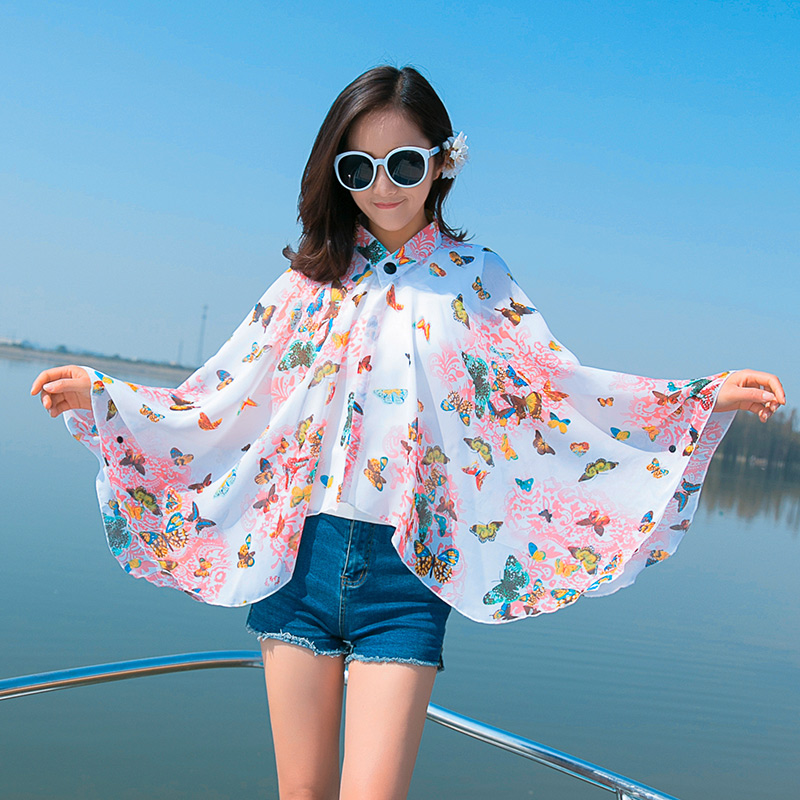 New Summer Beach Cover up Large Pareos Chiffon   Wrap   Shawl Beach Sarongs For Women   Scarf   Button Design Sunscreen Clothing WJ1738
