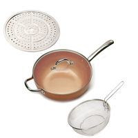 copper Round Pan Induction Chef Glass Lid Fry Basket, Steam Rack 4 Piece Set,12 inches used in induction