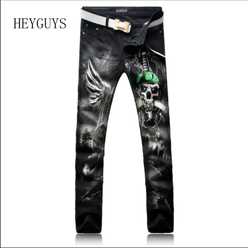 HEYGUYS Men's fashion black skull snake sword 3D print   jeans   Casual colored pattern stretch denim pants