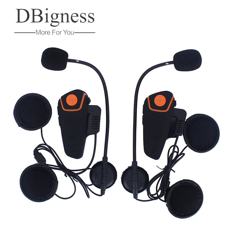 Dbigness 2 pcs BT-S2 Waterproof Motorcycle Moto Wireless Bluetooth Helmet Intercom Interphone Headset with FM function wireless bt motorcycle motorbike helmet intercom headset interphone