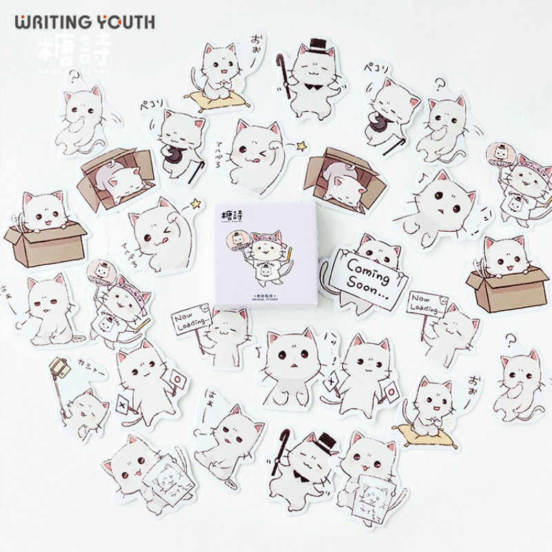Cute Cat's Expression Bullet Journal Stickers Scrapbooking Child Diary DIY Kawaii Stickers Supplies Stationary