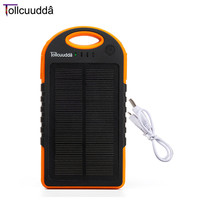 Tollcuudda 12000mAh Portable Power Bank Ultra Thin Design Double USB Waterproof Solar Energy LED Light External