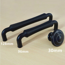 96mm 128mm modern simple black kitchen cabinet dresser door handles black drawer knobs pulls 3.75″ 5″ antique black handles knob