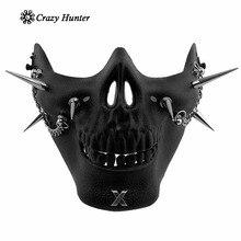 גולגולת חצי פנים מסכת ספייק המשובץ פאנק Biker Masque יוניסקס