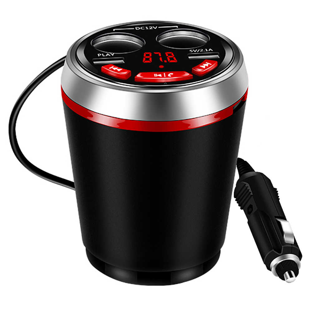 Dual USB Car Charger Cup Cigarette Lighter Socket Charge HUB 12-24V with Bluetooth FM Transmitter Support U Disk Reading