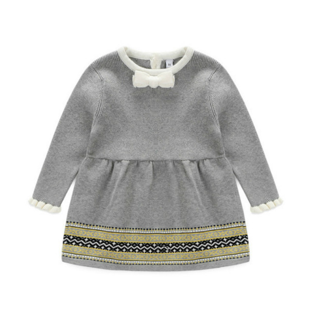 2016 New baby girl princess dresses for autumn and spring ,girls knitted dress with long sleeve children's clothes sweater dress