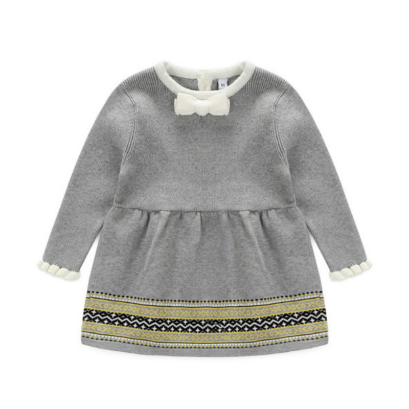 2017 New baby girl princess dresses for autumn and spring ,girls knitted dress with long sleeve children's clothes sweater dress