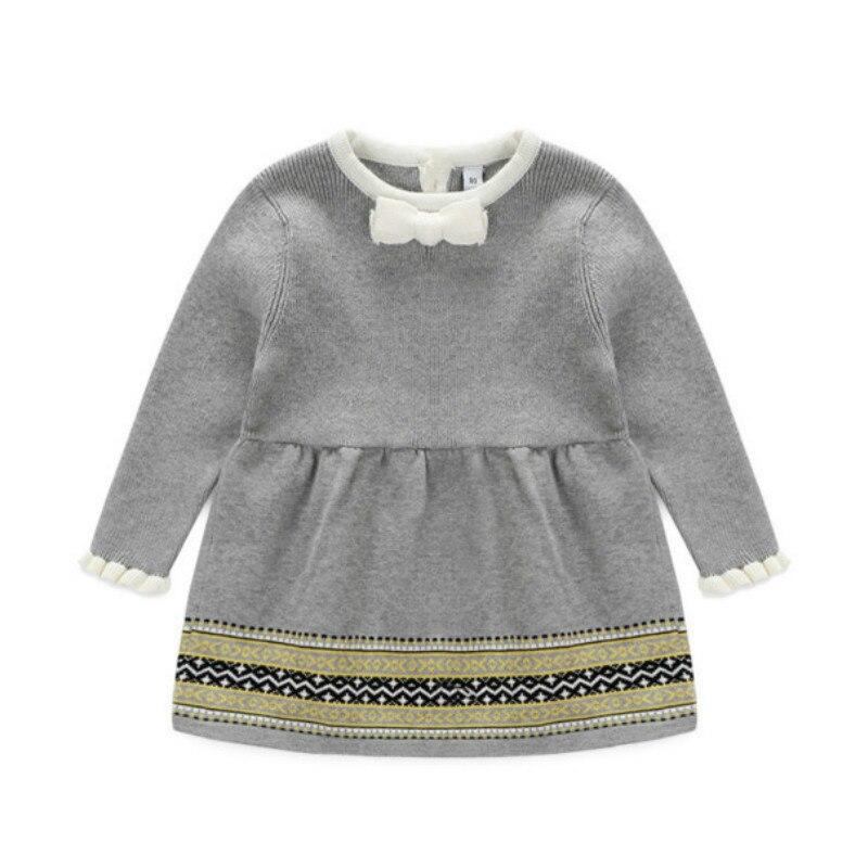 8d42280e86c7c 2017 Yeni bebek kız prenses elbiseleri sonbahar ve bahar için, kızlar uzun  kollu çocuk giyim ile kazak örme dress dress