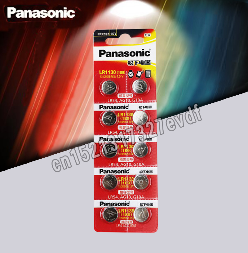 10pcs/lot Panasonic Battery Cell 1.5V AG10 LR1130 Alkaline Button Battery AG10 389 LR54 SR54 SR1130W 189 LR1130 Button Batteries