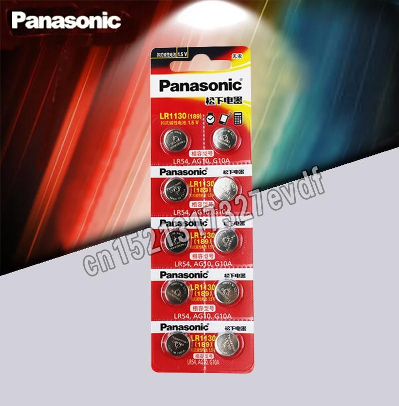10pcs/lot Panasonic Battery Cell 1.5V AG10 LR1130 Alkaline Button Battery AG10 389 LR54 SR54 SR1130W 189 LR1130 Button Batteries