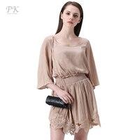 PK Gold Lace Hem Vintage Dress Women 2017 Ruffle Pleats Sleeve Vintage Office Dresses Silk Feeling