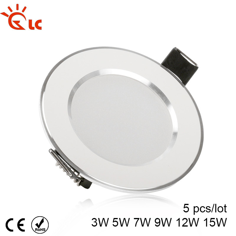 5pcs/lot LED Ceiling Light 3W 5W 7W 9W 12W 15W 220V 230V 240V Down Light Ceiling Lamp Led Bulb Cool White Warm White