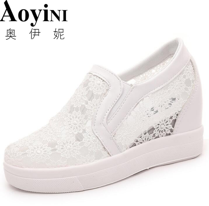 Platform Wedges Shoes 7CM Woman's High Heels Fashion Square Toe Lace Up Platform Heels Casual Women Creepers phyanic 2017 gladiator sandals gold silver shoes woman summer platform wedges glitters creepers casual women shoes phy3323