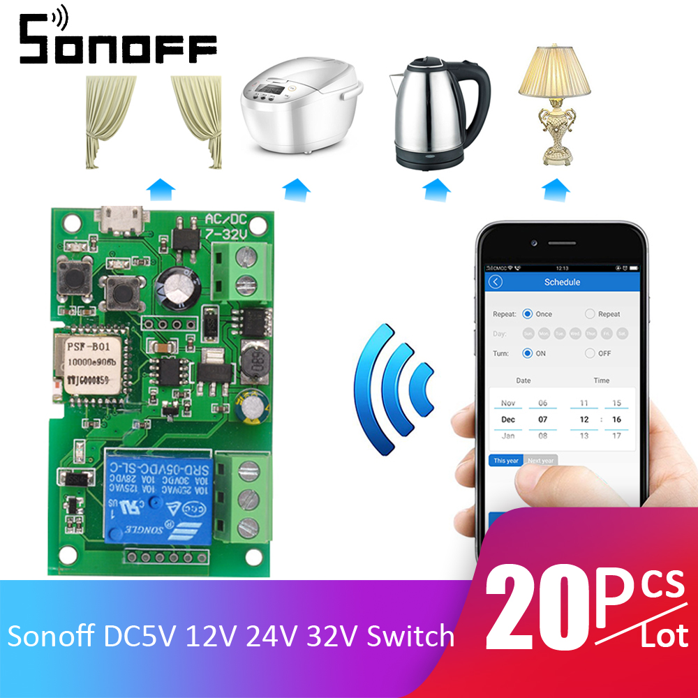 20pcs/Lot Sonoff DC5V 12V 24V 32V Wifi Switch Wireless Relay Module Smart Home Automation Module APP Remote Control Timer Switch-in Home Automation Modules from Consumer Electronics    1