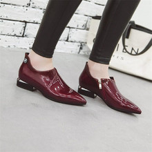 Купить с кэшбэком 2019 Fashion Pointed Toe Dress Shoes Women Loafers Patent Leather Oxford Shoes for Women Formal Mariage Wedding Shoes Plus Size