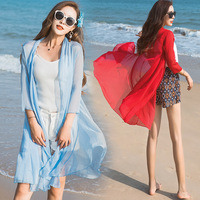Summer Solid Color Sunscreen Beach Tunic Chiffon Blouse Long Cardigan Women's Shirt Women Tops Casual Loose Thin Female Outwear