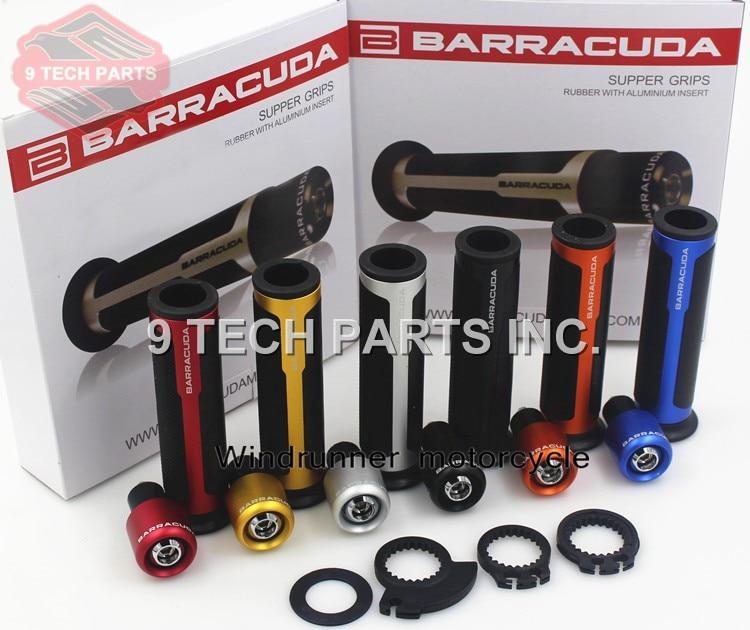 BARRACUDA CNC 7/8'' Motorcycle Handle Bar CAPS / Handlebar Grips Kit Universal 22MM Street & Racing Moto Racing Grips With Box