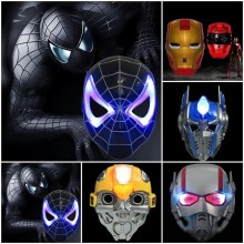 Светящаяся светодиодный маска супергероя Мстители Железный человек/Халк/Бэтмен/Человек-паук/Капитан Америка/Маска Росомахи Вечерние Маски
