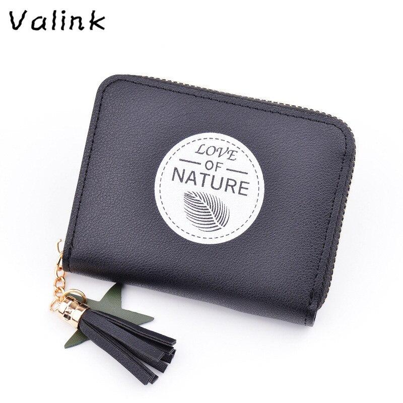 Valink Brand Tassels Zipper Women Wallet for Coin Card Cash Invoice Fashion Lady Small Purse Short Wallet Female Clutch Carteras