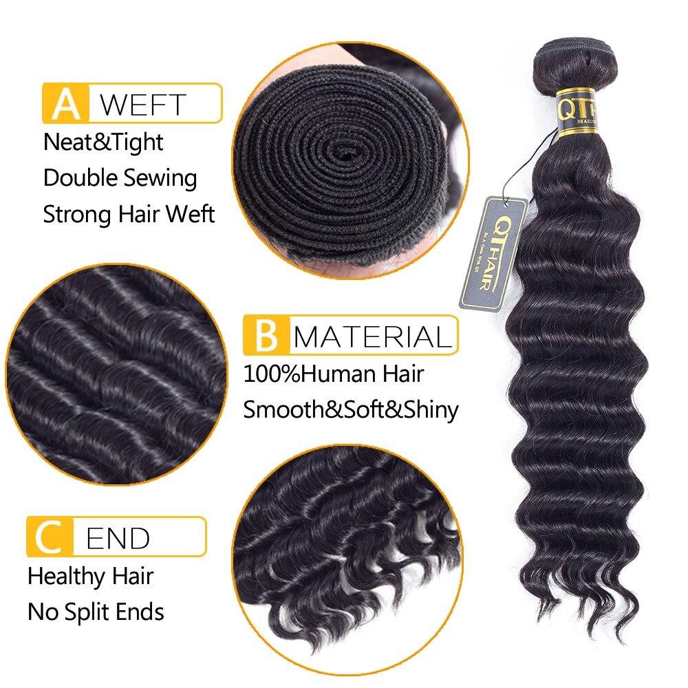 Malaysiske hårpakker Løs dybe væv QThair Non Remy Human Hair Weave - Menneskehår (sort) - Foto 3