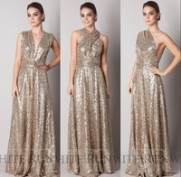 2015 Sparkly Convertiable Rose Gold Sequins Bridesmaid Dress A Line Floor Length Long Plus Size Custom Made Maid Of Honor UM01