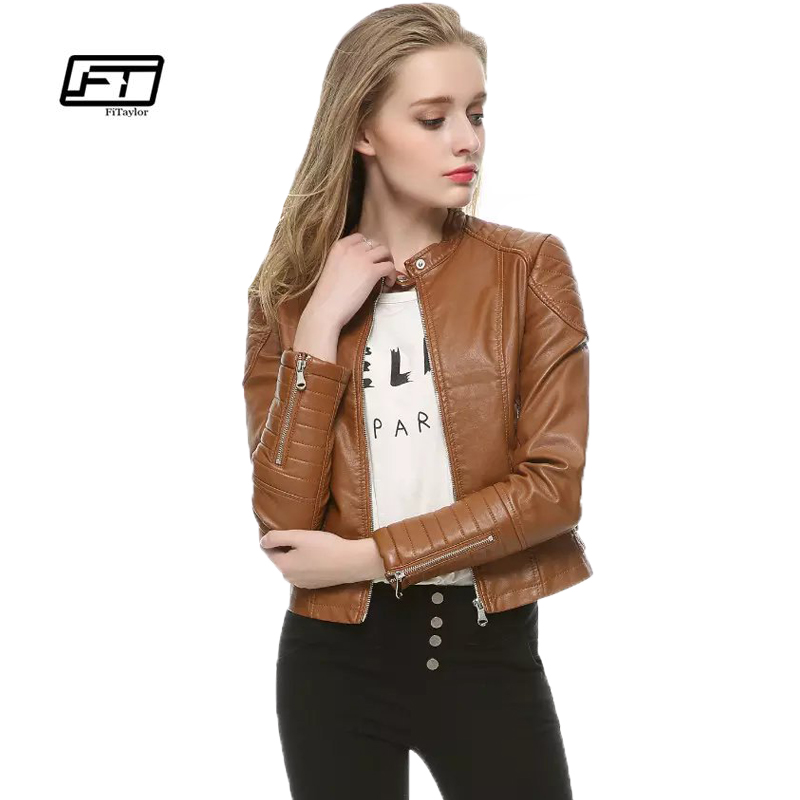 Fitaylor Women Autumn Winter Pu   Leather   Jacket Fashion Casual Punk Retro Short Design Motorcycle Coat Black Faux   Leather   Jacket