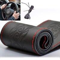 Brand New Car Braid DIY Genuine Leather Cowhide Car Steering Wheel Cover Black 38cm Diameter Universal