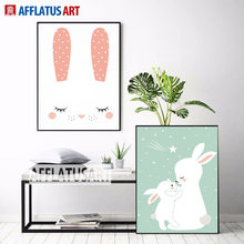 AFFLATUS Nordic Cute Baby Rabbit Canvas Painting Wall Art Posters And Prints Nursery Wall Pictures For Kids Room Decor No Frame(China)