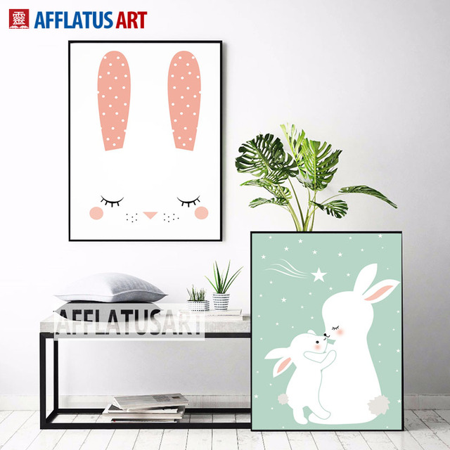 Afflatus Nordic Cute Baby Rabbit Canvas Painting Wall Art Posters And Prints Nursery Pictures For