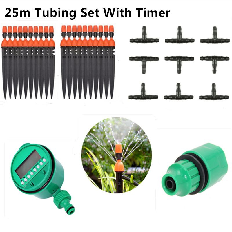 25m Misting Sprinkler Dripper With Water Timer DIY Micro Drip Irrigation Plant Self Watering Garden Water Irrigation Kits BB06