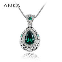 ANKA Brand Jewelry Water Drop Crystal Pendant Necklace hollow Bohemia original Style Crystals from Swarovski for women #83131(China)