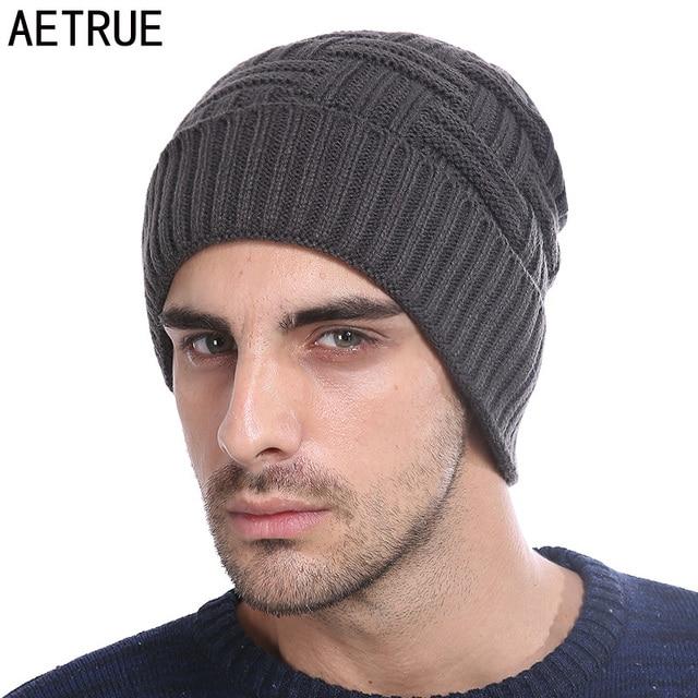 1a387b7e724 AETRUE Winter Beanie Knitted Hat Men Women Bonnet Fashion Caps Skullies  Beanies Solid Mask Cap Warm