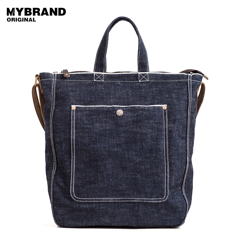MYBRANDORIGINAL vintage handbags casual denim canvas tote bag for man large capacity single shoulder bags crossbody bag B136