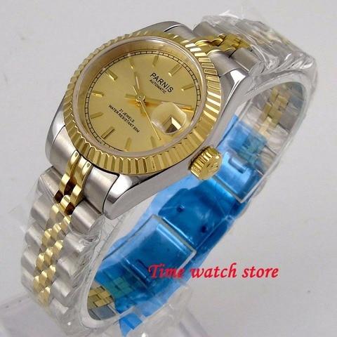 Masculino à Prova Moldura de Aço Parnis Miyota Japão Mecânica Relógio Automático Senhoras Dwaterproof Água Dial Ouro Inoxidável Safira 1240 26mm