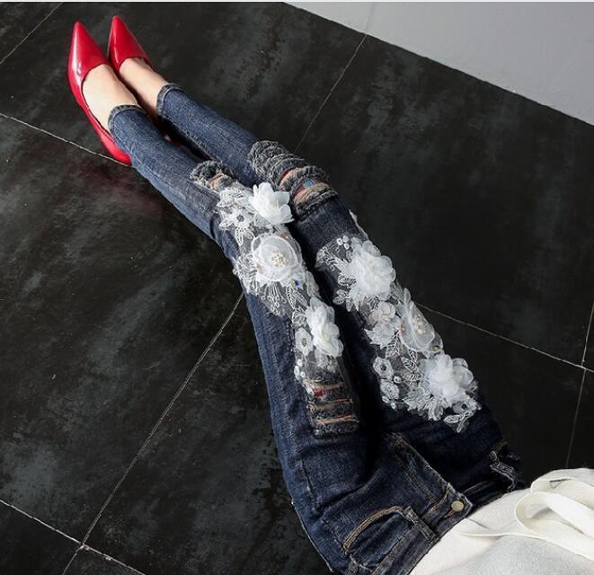 Jeans Ragazze Matita Slim 2018 Di style Ricamo Delle Style Le Modo B Del Pantaloni Per Signora Autunno C Donne A Fori Della Fiori Denim Dei Nuovo style oeQBCxrdW