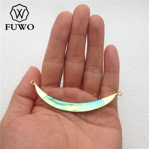 Image 5 - FUWO Natural Abalone Shell Double Loops Pendant With Gold Brass Plated Fashion Personality Long Horn Jewelry For Women PD501