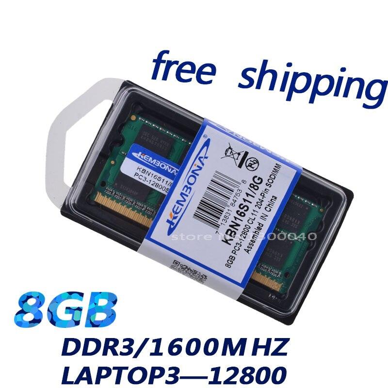 KEMBONA NOUVEL ordinateur portable puces de mémoire RAM DDR3 1600 8G 1.5 V PC3-12800 mémoire portable tous compatibles sont pris en charge