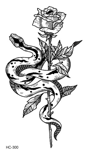 Water Transfer Fake Tattoo Sticker Sketch Rose Flower Snake Tattoo Waterproof Temporary Tatto Flash Tatoo For Woman Man Kids